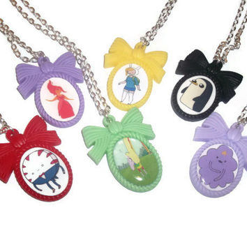 Adventure Time Cameo Necklace Set B, Choose 1 : Flame Princess, Fiona, Gunter, Peppermint Butler, Lumpy Space Princess, Lady Rainicorn