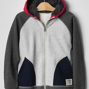 Gap Boys Cozy Colorblock Zip Hoodie