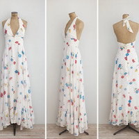 1970s Dress - Vintage 70s White Floral Open Back Halter Maxi Dress - Between The Hills Dress