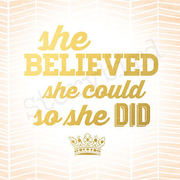 She Believed She Could So She Did - Faux Gold Foil orange herringbone Wall Art - Instant Download - 8x10 - Print - Artwork