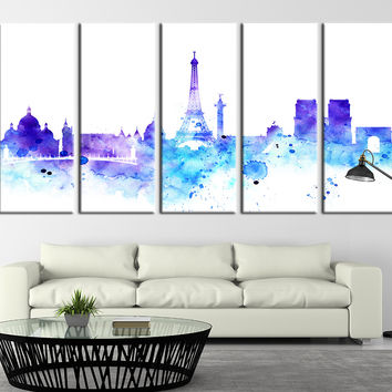 Watercolor Paris Cityscape, Paris Skyline, Tower of Eiffel, France No:110