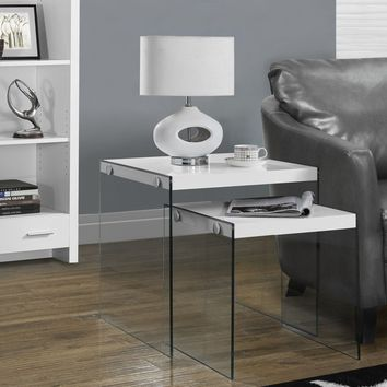 Glossy White / Tempered Glass 2Pcs Nesting Table Set