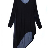 Women New Chiffon Splicing Scoop Long Sleeve Asymetrical Loose Cotton Black T-Shirt One Size@WY2042b $15.55 only in eFexcity.com.