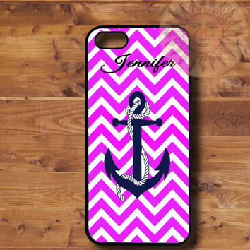 Pink Chevron Anchor-iPhone 5, 5s, 5c, 4s, 4, ipod touch 5, Samsung GS3, GS4 case-Silicone Rubber or Plastic Case, Phone cover