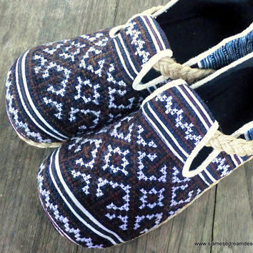 Mens Shoes in Indigo Batik and Brown Ethnic Hmong Embroidery Earthy Vegan Loafers