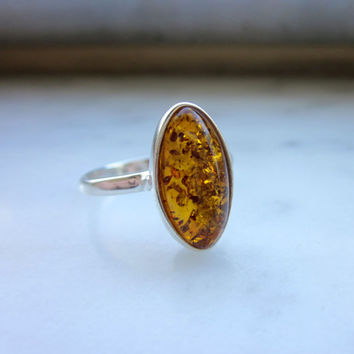 Sterling amber ring 925 Baltic amber ring sterling amber jewelry silver amber ring size 8 3/4 amber ring sterling honey amber ring clearance