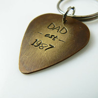 Gift for Dad, New Dad Gift, Guitar Pick Keychain, Custom Dad Gift, Hand Stamped, Antiqued Brass, dad established