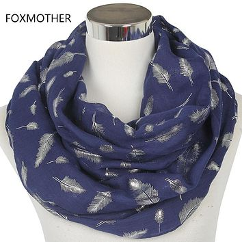 FOXMOTHER Free Shipping 2017 Europe Fashion Womens White Navy Pink Shiny Bronzing Silver Feather Infinity Scarves