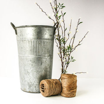 Vintage Tall Galvanized Flower Pail / Bucket With Handles / Industrial Decor