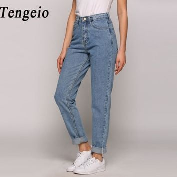 Tengeio 2018 Fashion Summer Boyfriend Jeans For Women Vintage High Waist Washed Button Blue Denim Long  Harem Jeans Femme 210
