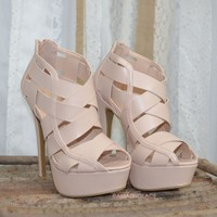 SZ 8.5 Good Reputation Nude Cut Out Platform Heels