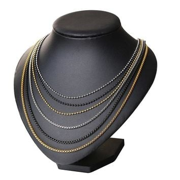 Men's Stainless Steel Round Box and Bead Ball Link Chain Necklace in Black Silver Golden  with 24 Inches (2.5mm-3.5mm Wide)