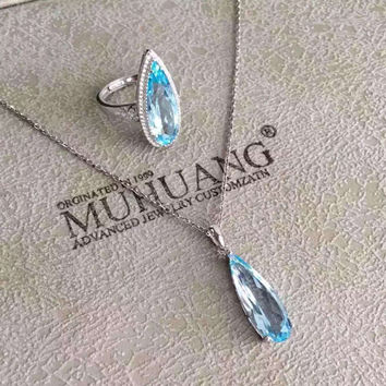 Natural blue topaz gem jewelry sets natural gemstone Pendant ring 925 silver Stylish big Water droplets Pear women party jewelry