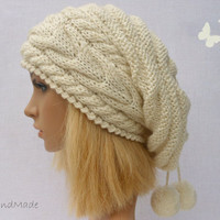 Slouchy Beanie Slouch Hats Oversized Baggy Cabled Hat Neck Warmer womens Fall Winter Accessory Cream White Hand Made Knit