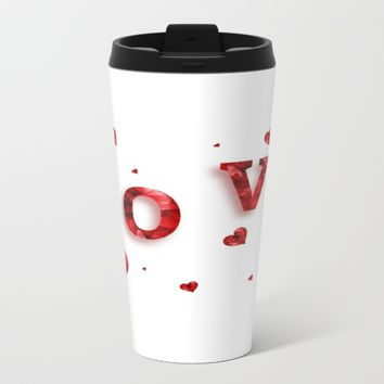 love hearts Metal Travel Mug by Coffee Cup Heaven