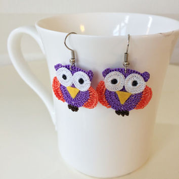 Multicolor Owl Crochet and Beaded Earrings, pair of Owl earrings and beaded.small