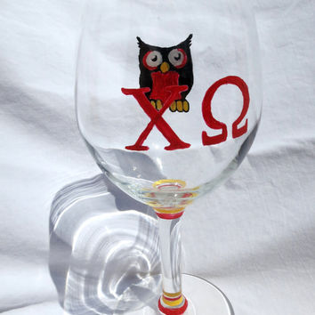 Chi Omega Sorority Hand Painted Wine Glass