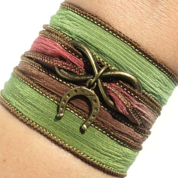 Horseshoe Bracelet - Silk Wrap Bracelet - Good Luck GIFT - Horse Lovers Gift - Teen Girl Gift - Christmas Gift - Fall - Autumn - Silk