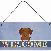Dachshund Red Brown Welcome Wall or Door Hanging Prints BB5711DS812