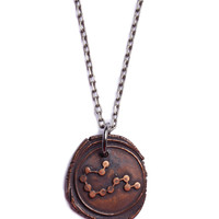 Wax Seal Aquarius Constellation Necklace
