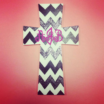 Chevron hand-painted cross with monogram, and glitter.