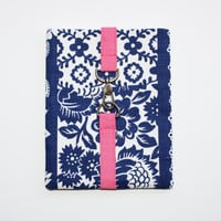iPad Sleeve / Tablet Case - Cobalt Blue and White Floral with Hot Pink Snap Hook Closure - Padded