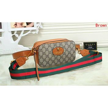 Gucci Fashion Multicolor Women Leather Purse Waist Bag Single-Shoulder Bag Crossbody Satchel Brown I-OM-NBPF