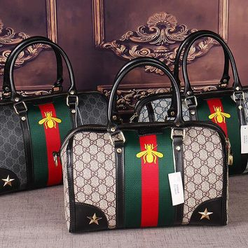 Gucci Women Leather Luggage Travel Bags Tote Handbag-3