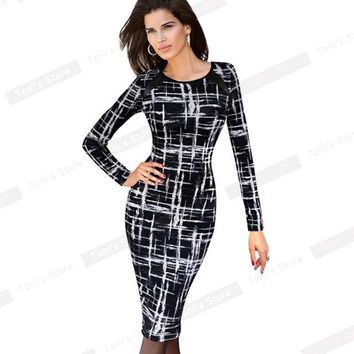 Autumn Casual Slimming Stretchy Vintage dress Polyester Body-con Geometric O Neck Sheath Fitted Pencil Dress b254