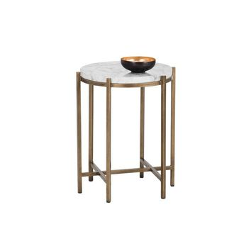 SOLAN BRUSHED ANTIQUE BRASS STEEL BASE CARRARA MARBLE TOP ROUND END TABLE