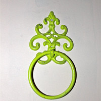 Hand Towel Ring/ Lime Green/ Distressed Iron by AquaXpressions