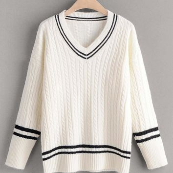 Striped Cable Knit Cricket Sweater