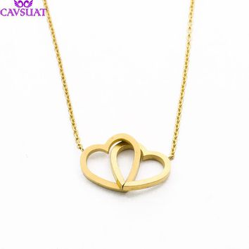 Simple Double Heart Pendant Necklace Chain Jewelry Minimal Layering Knot Love Heart Necklace Intertwined Ketting Hanger Hart