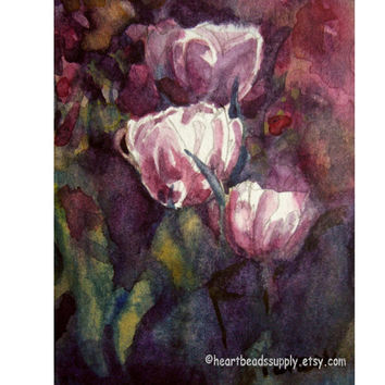 Tulips, flowers, Original ACEO Watercolor Painting id1340878