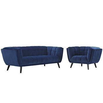 Bestow 2 Piece Velvet Sofa and Armchair Set Navy EEI-2980-NAV-SET