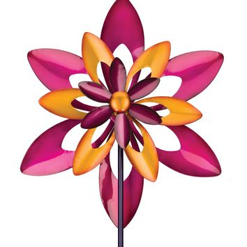 Flowering Star Metal Kinetic Garden Stake Wind Spinner
