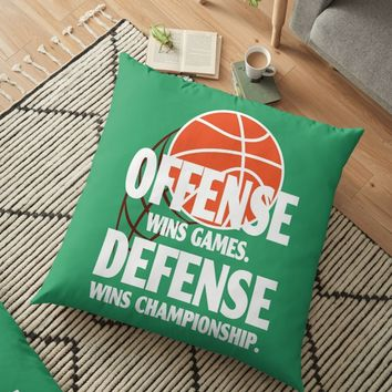 'Basket ball Defense Wins Championship' Floor Pillow by freewayart