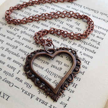 Heart Charm Necklace - Antiqued Brass & Copper Necklace