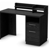 Computer Desk Contemporary Home Office Furniture With Drawers Black Finish New