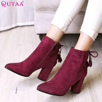 QUTAA 2016 Women Shoe Zipper Ladies Square High Heel Black Bow Tie All Match Ankle Boot Women Motorcycle Boots Size 34-43
