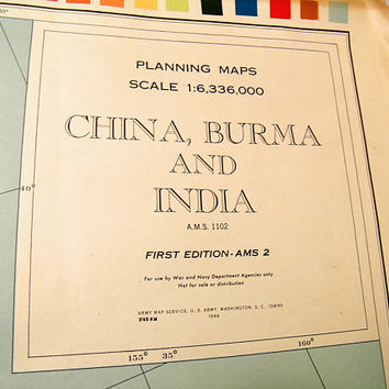 Army Map Service China, Burma & India Planning Oversized Full Color Map First Edition 1944 AMS 2 For use by War and Navy Department Agencies