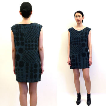 silk hand painted mini dress.  PATCH WORK DOTS.  made to order.