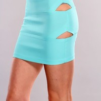Aqua High Waist Slit Sides Skirt