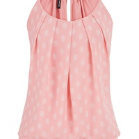 knit tank with pleated chiffon front in floral print
