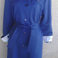 Forecaster of Boston trench coat rain coat jacket bright blue 13 / 14 tie waist button front two slit pockets and 2 breast pockets