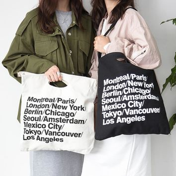 Vintage American Apparel Canvas AA City Bag Letter Cowboy Big Shopping Bag Casual Women Shoulder Bag