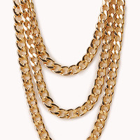 FOREVER 21 Underground Layered Chain Necklace Gold One