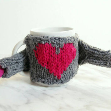 Funny Coffee Cup Cozy with Heart – Funny Valentine Gift for Him – Knit Coffee Mug Cozy Sweater - Knit Mug Holder – Mother's Day Gift for Mom