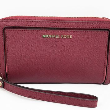 Michael Kors Frame Out Travel Large Leather Phone Case Wristlet in Cherry NWT