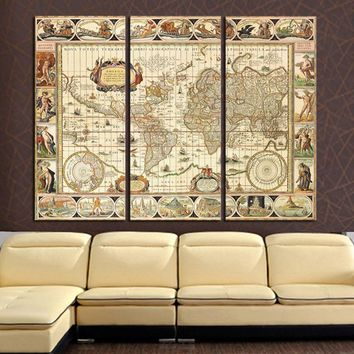 3 Panel World Map Home Wall Decor Canvas Picture Art Print On Canvas for Room